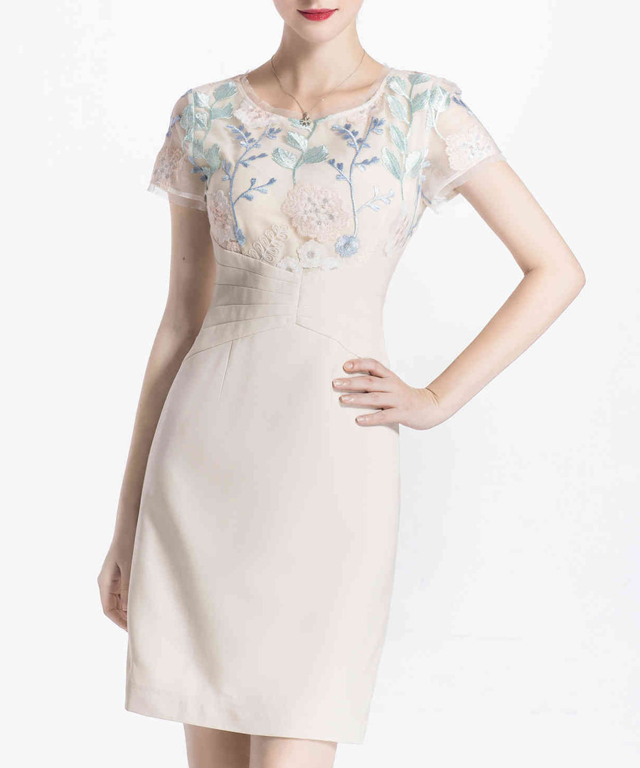 Apricot embroidered mini dress Sale - lanelle