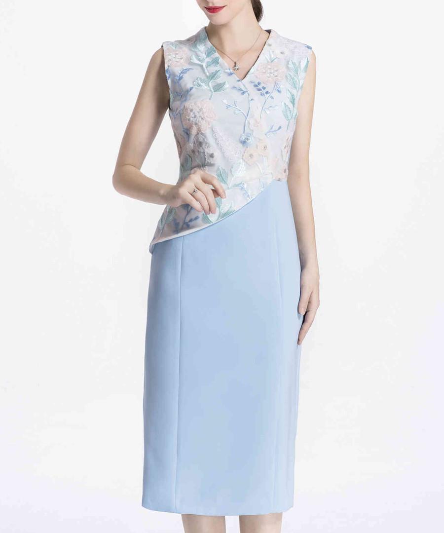 Sky blue floral top midi dress Sale - lanelle