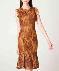 Caramel print trumpet midi dress