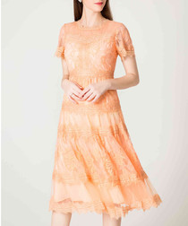 Orange tiered lace midi dress