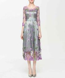Grey & lilac sheer midi dress