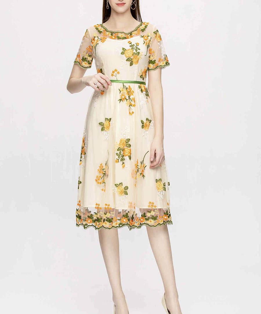 Yellow floral print midi dress Sale - lanelle