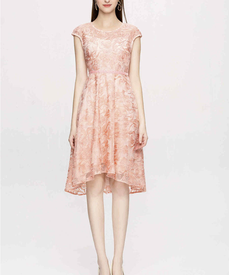 Peach lace hi-low dress Sale - lanelle