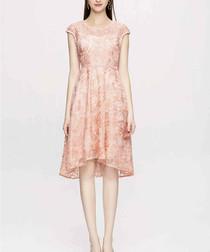 Peach lace hi-low dress