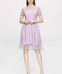 Lilac lace short sleeve dress
