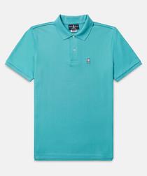 Classic turquoise cotton polo shirt