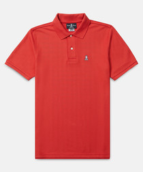 Classic red cotton polo shirt