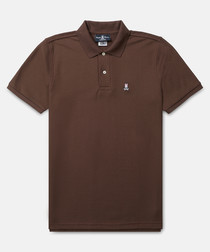 Classic coffee cotton polo shirt