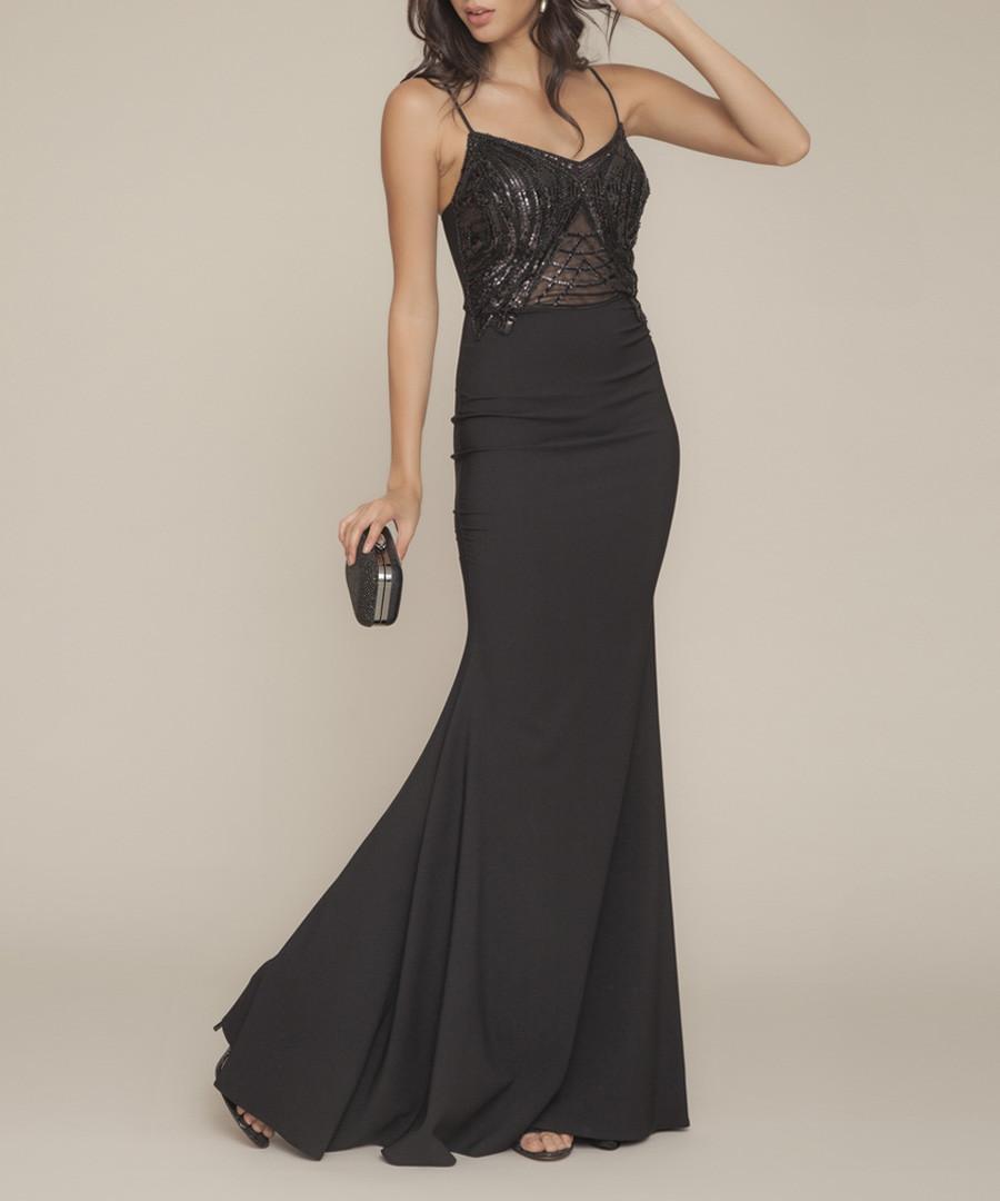 black strap fluted maxi dress Sale - zibi london