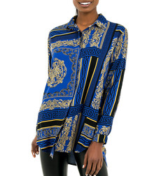 blue brocade pure cotton shirt