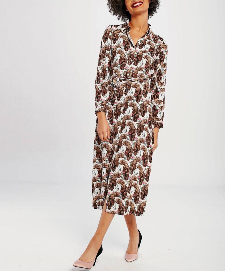 Brown tile straight midi dress Sale - zibi yoyo collection