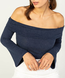 navy wool blend bardot blouse
