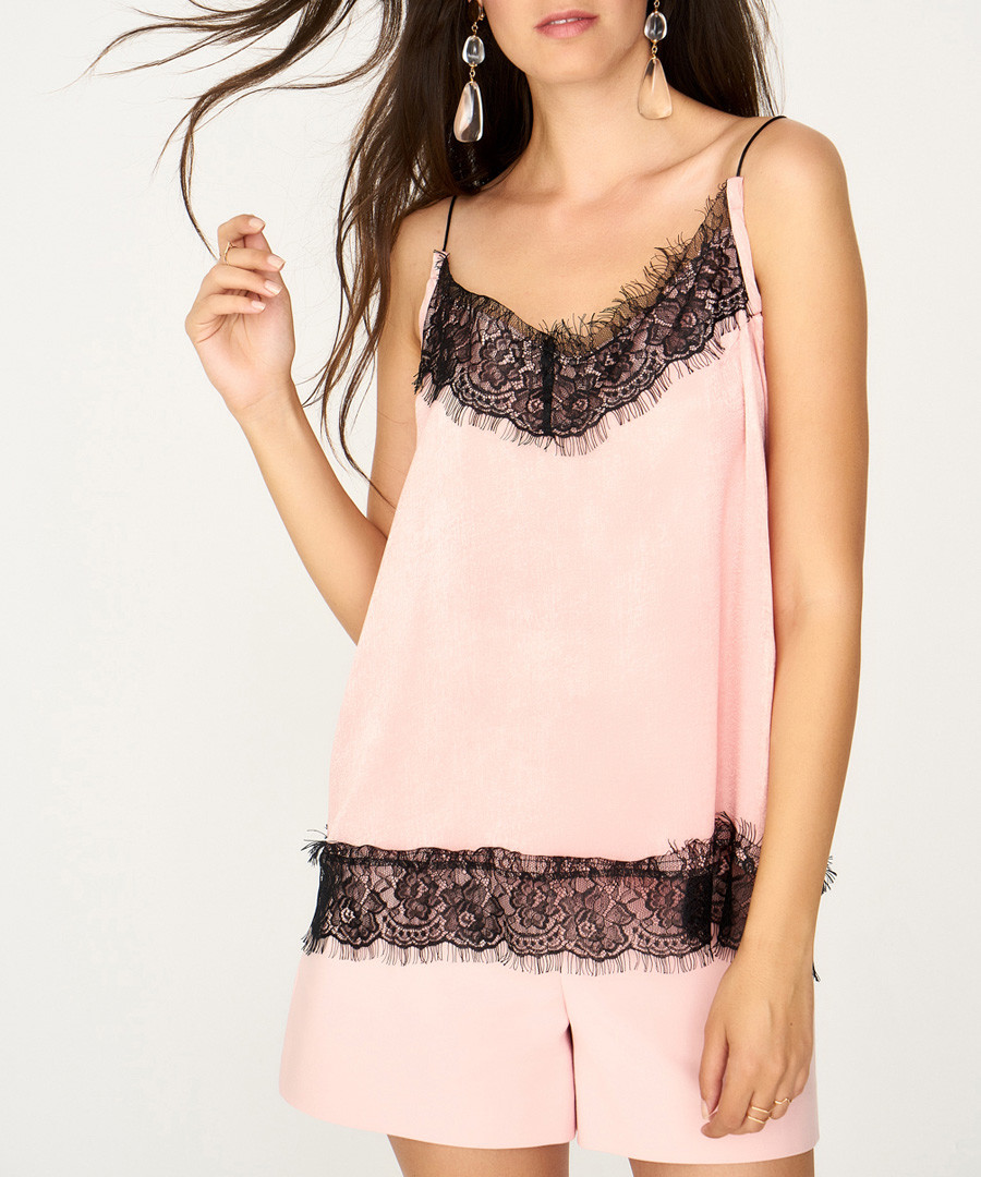 pale pink & black lace blouse Sale - zibi london