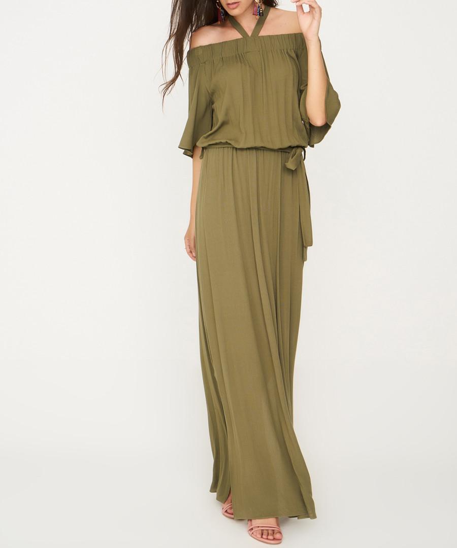 khaki halterneck maxi dress Sale - zibi london