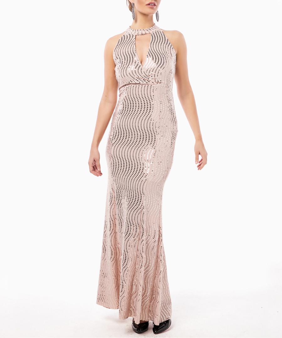 pink wave shimmer halterneck maxi dress Sale - zibi london