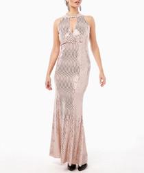 pink wave shimmer halterneck maxi dress