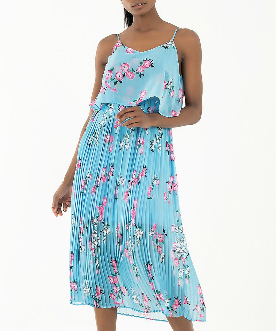 sky blue & floral pleated midi dress Sale - zibi london