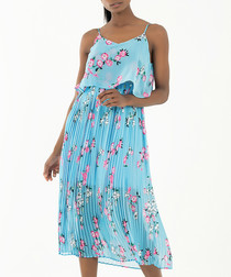 sky blue & floral pleated midi dress
