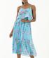 sky blue & floral pleated midi dress Sale - zibi london Sale