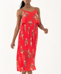 coral & floral pleated midi dress