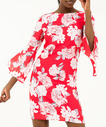 red floral bell-sleeve mini dress