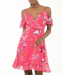 fuchsia floral V-neck mini dress