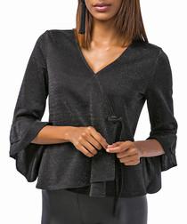 black shimmer ruffle blouse