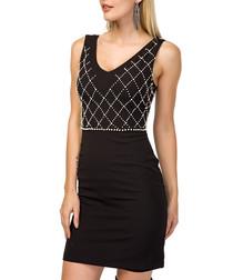 black grid contour mini dress