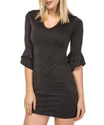graphite shimmer half-sleeve mini dress