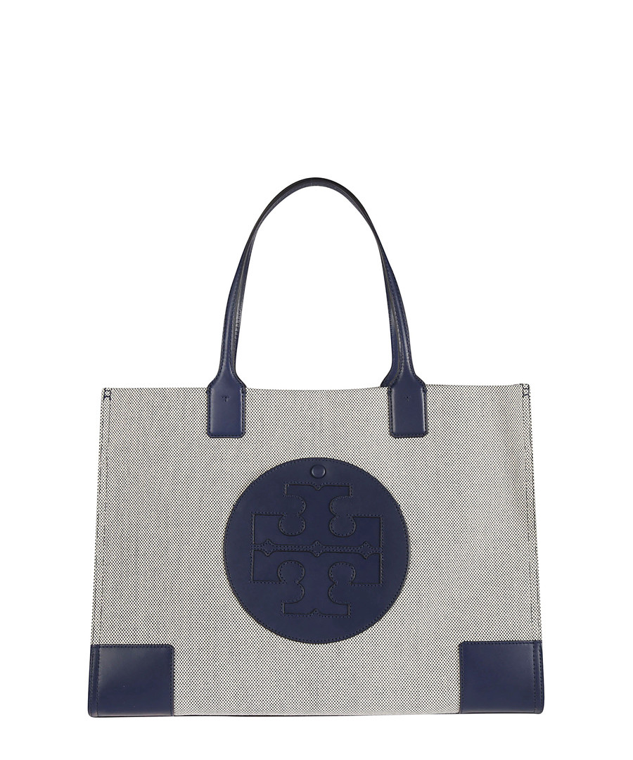 Ella navy leather & canvas tote Sale - tory burch