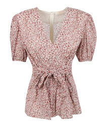 Red dot cotton & silk waist-tie blouse