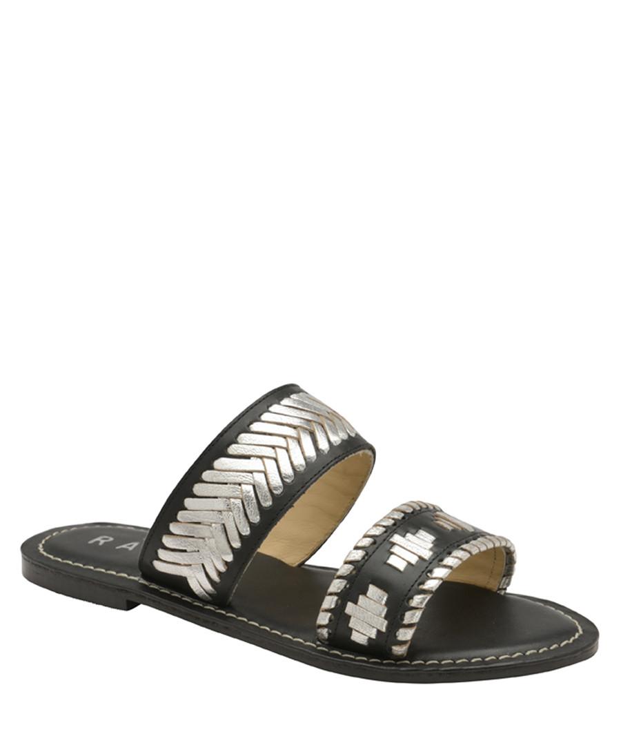 Black leather Aztec slip-on sandals Sale - ravel