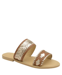 Brown leather Aztec slip-on sandals