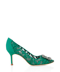 Hangisi green lace mid stilettos