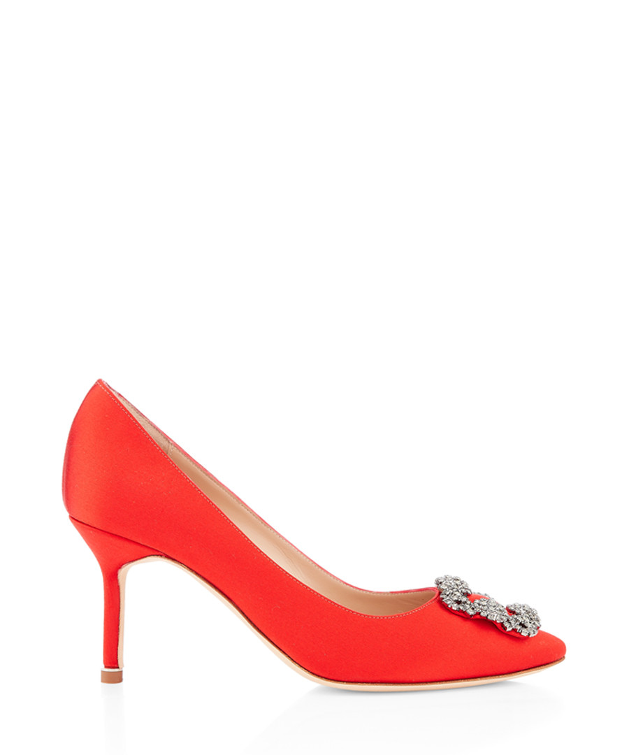 Hangisi red satin mid stilettos Sale - manolo blahnik