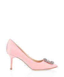 Hangisi pink satin mid stilettos