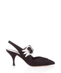 Black satin Swarovski slingback heels