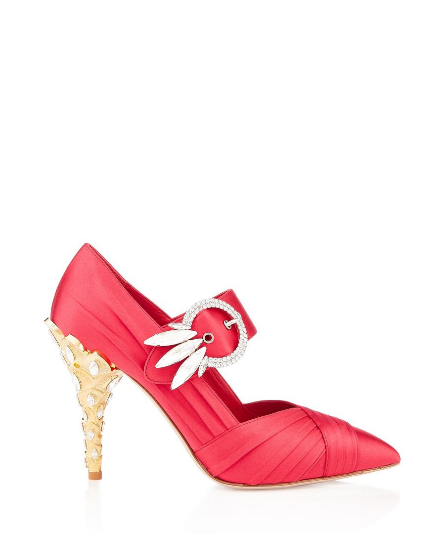 Peony satin Swarovski embellished heels Sale - miu miu