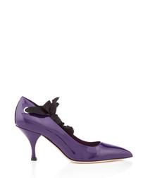 Purple patent leather tie strap heels