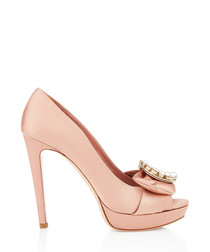 Blush satin & pearl embellished peeptoes