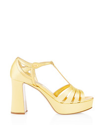 Gold silk platform heeled sandals