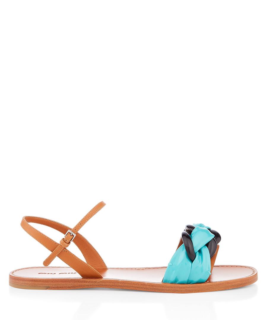 Brown & blue leather weave sandals Sale - miu miu