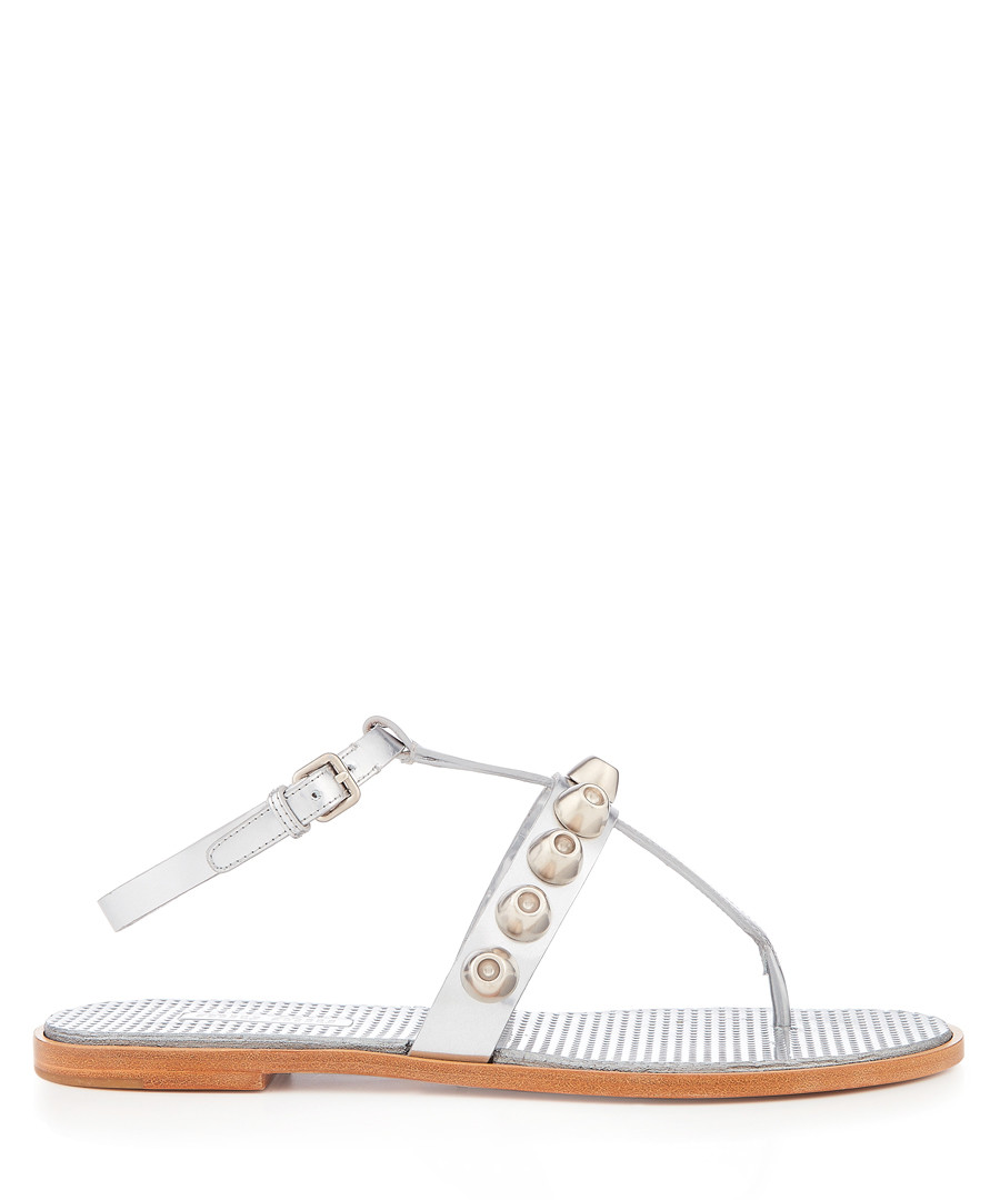 Silver studded leather sandals Sale - miu miu