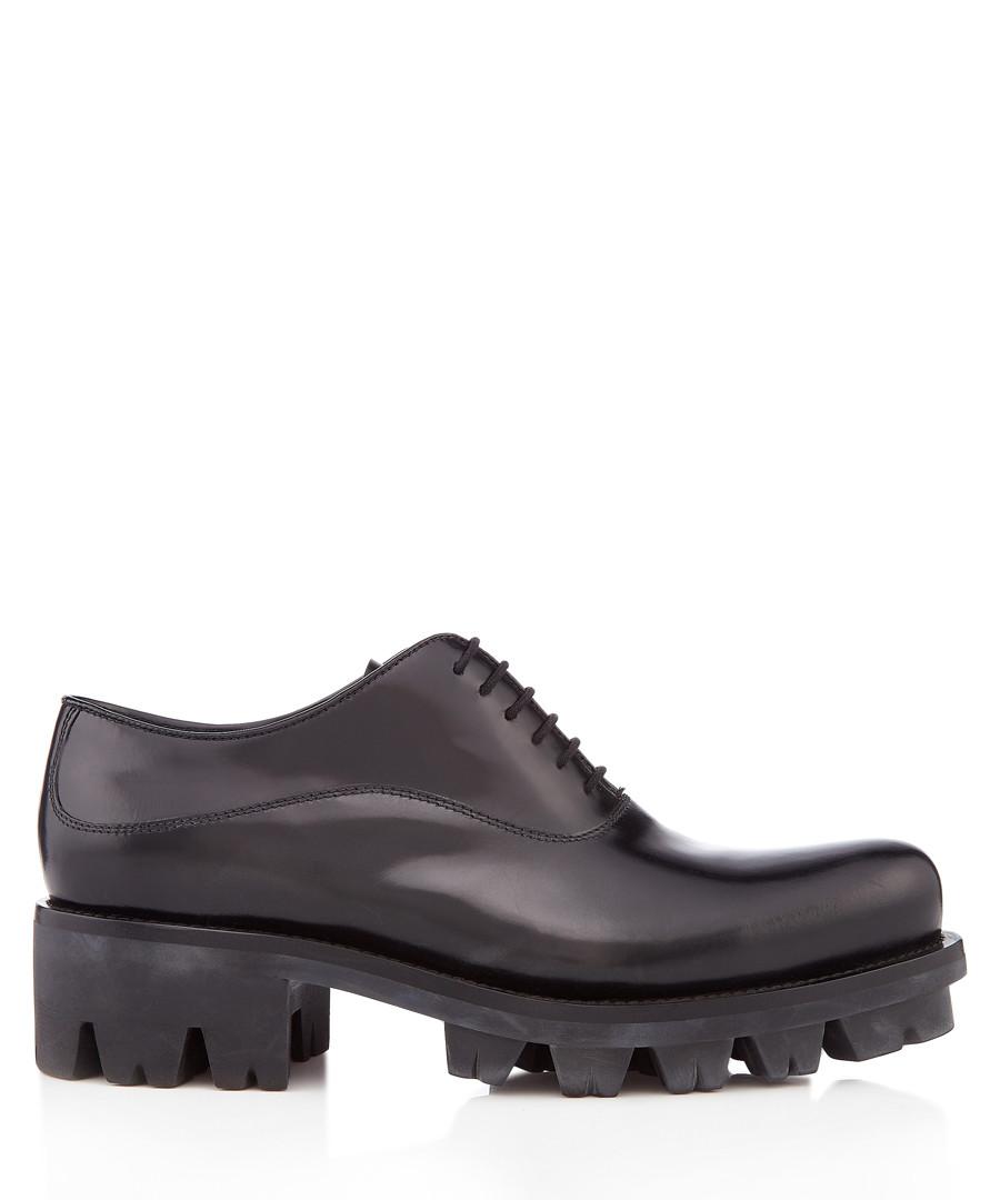 Black leather chunky lace-up shoes Sale - prada