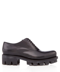 Black leather chunky lace-up shoes