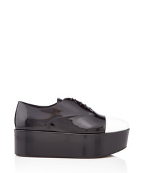 Black & white toe flatforms