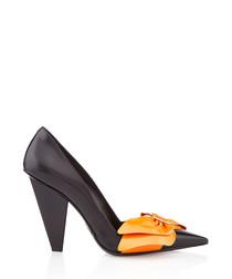 Black & orange leather bow heels