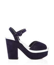 Navy suede & silk peeptoe heels