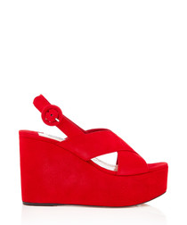 Red suede wedged sandals