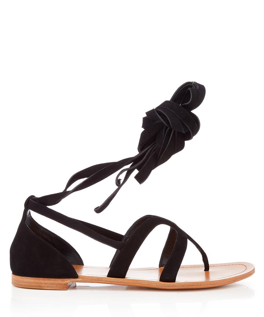 Black suede tie-up sandals Sale - prada